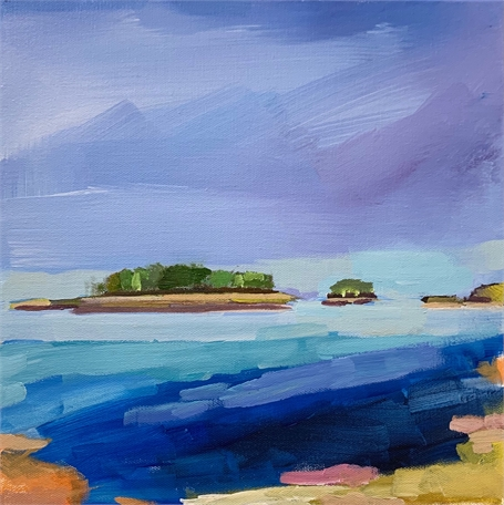 "Claire Bigbee | Blue Yonder #2, Georgetown | Acrylic on Canvas | 12"" X 12"" 
