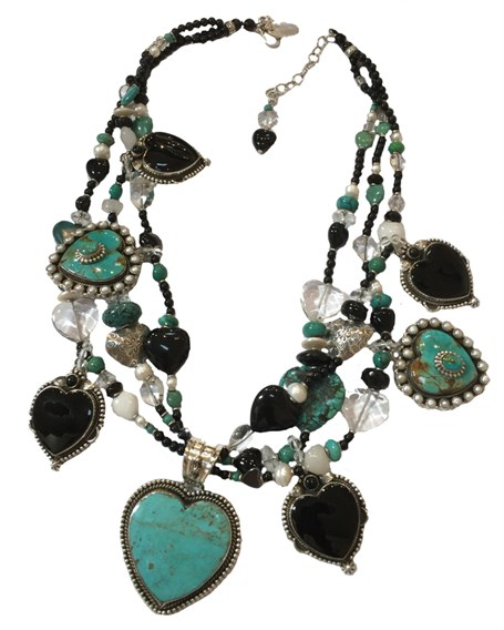 KY 1239 Three strand Heart necklace with turquoise, onyx, rock crystal & sterling silver