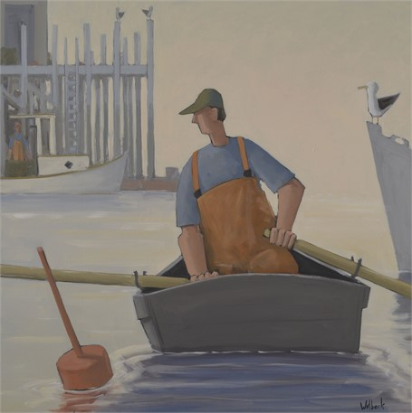 "David Witbeck | Afternoon Commute | Oil on Panel | 30"" X 30"" 