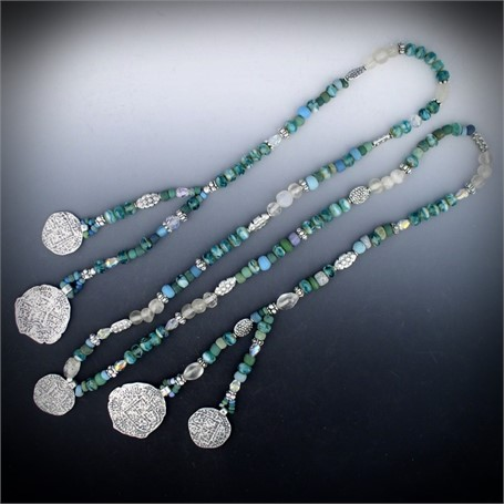Lariat - Five sterling 17th century Spanish coin replicas (pieces of eight) embellish this lariat of Czech glass roundels, clear Venetian glass balls, Swarovski crystal bi-cones and teardrops and Egyptian glass beads.  #30526