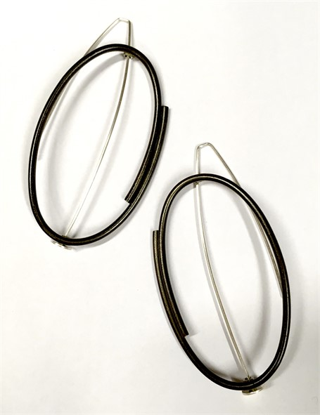 Earrings: Large vertical oval in steel and sterling