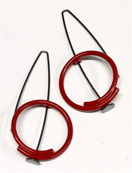 Earring: Small Circle in Red