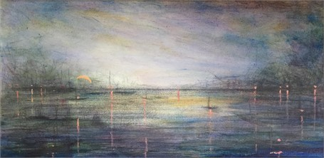 "John LeCours | Harbor Lights | Oil on Canvas | 10"" X 20"" 