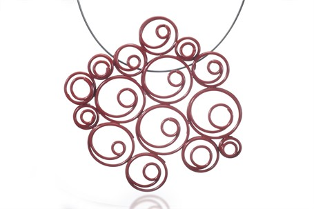 """Necklace: Red Spirals Cluster Pendant on a 16"""" Cable"""