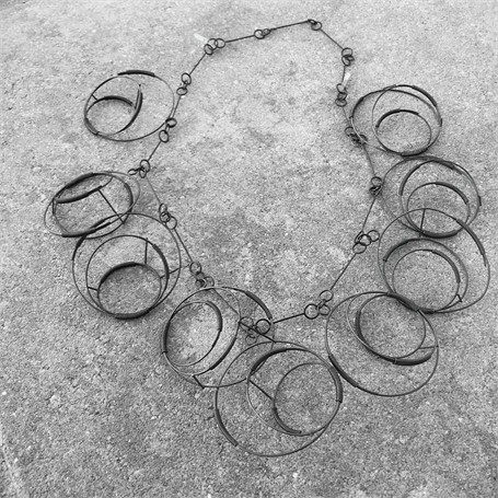 Steel Necklace: Steel with 9 Wrapped Structures