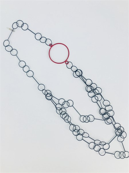 Necklace: Steel Cascade with Red Circle