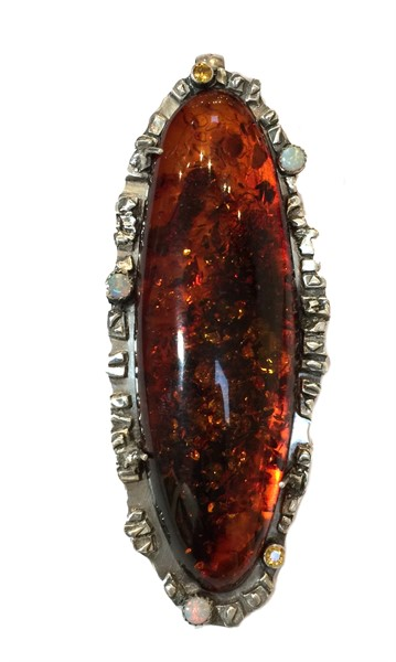 Pendant - Amber, Opals, Sapphires with Fine & Sterling Silver #2541