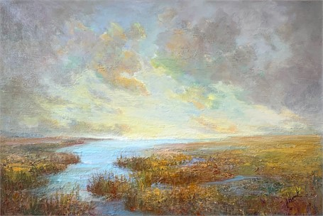 "Julie Houck | Across the Marsh #2 | Oil on Canvas | 24"" X 36"" 