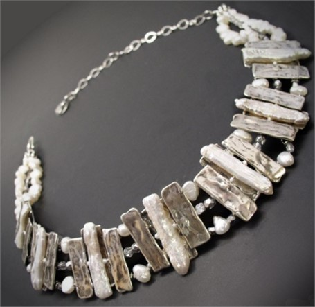 Necklace- Pearls Afloat In White-Pearls on Rafts. Seven stick pearls in a curve of silver rafts suspended by white freshwater pearls and silver Czech glass beads. #30509