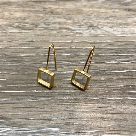 Gold Plated Earrings: Mini Square