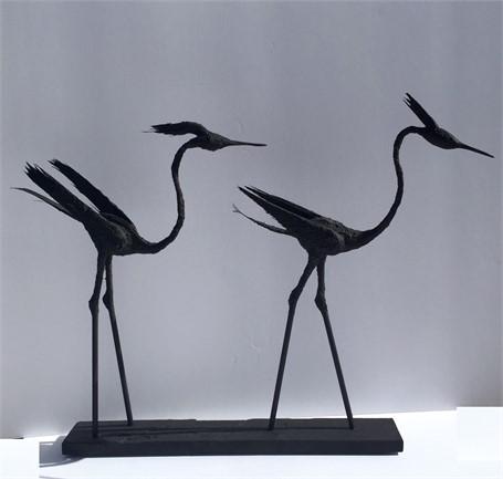 2 Great Blue Herons Walking