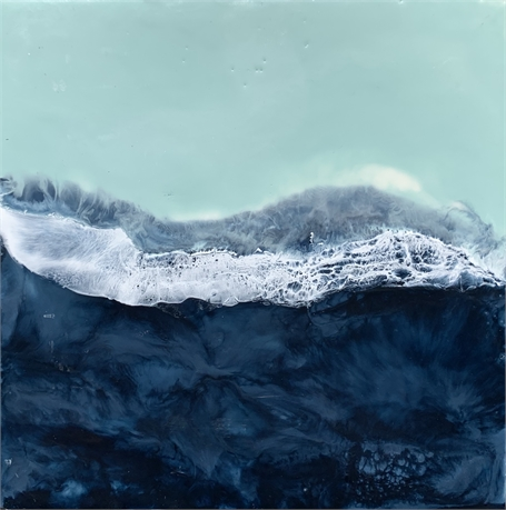 "Kathy Ostrander Roberts | The Ocean has Secrets | Encaustic | 8"" X 8"" 