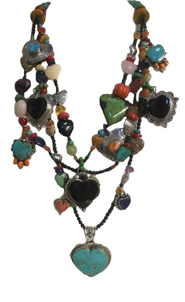 KY - 1228 Black onyx, rose quartz, silver, turquoise pendant