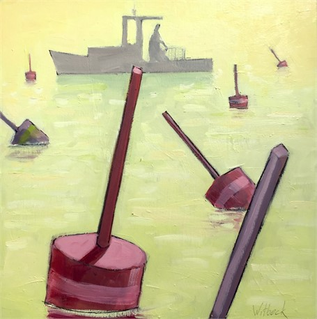 "David Witbeck | Pink Buoys | Oil on Panel | 12"" X 12"" 