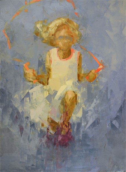 "Rebecca Kinkead | Jump (Blue Sky) | Oil and Wax on Linen | 50"" X 37"" 