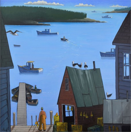 "David Witbeck | Blue Harbor, Working Front | Oil on Panel | 36"" X 36"" 