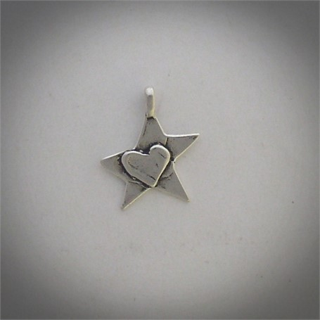 Pendant - Heart In The Stars - A small sterling silver cross is centered by a heart. #30518