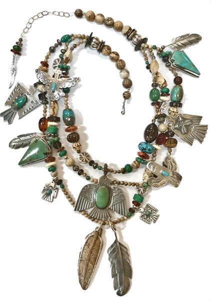 KY1265 Necklace - Jasper/Turquoise Feathers