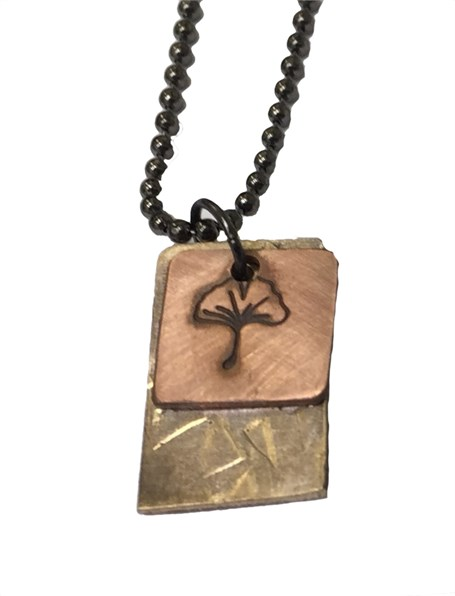 Necklace - Double Charm with Ginkgo Leaf