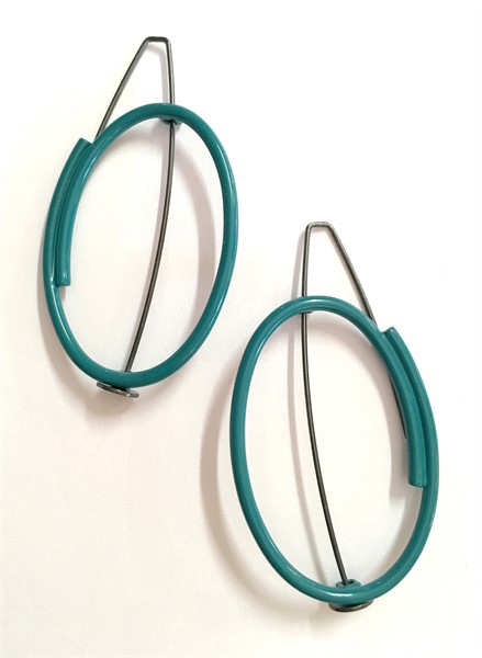 Earring: Small Vertical Oval in Teal