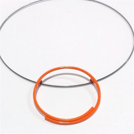 Powder Coated Necklace: Single Orange Circle
