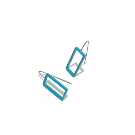 Powder Coated Earrings: Large Teal Rectangle