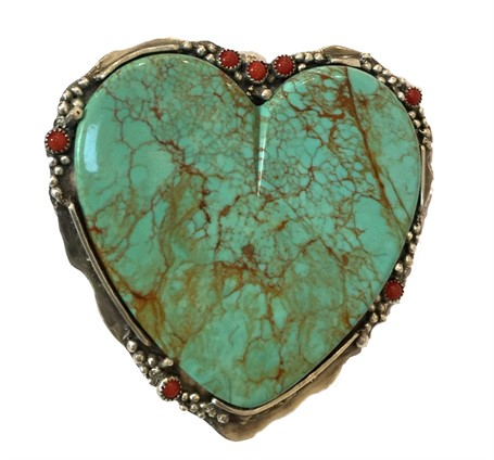 Pendant - Turquoise Heart with Coral Cabochons & Fine/Sterling Silver  #2537