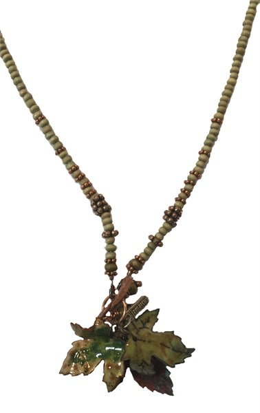 193D - Hand Enameled /Patinated Copper on Beaded Chain