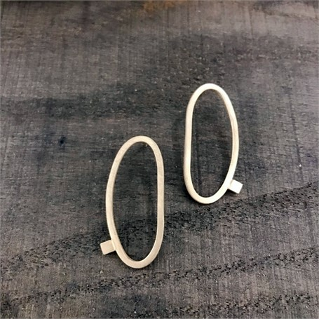 Sterling Silver Earrings: Large Oval Square Stock Post