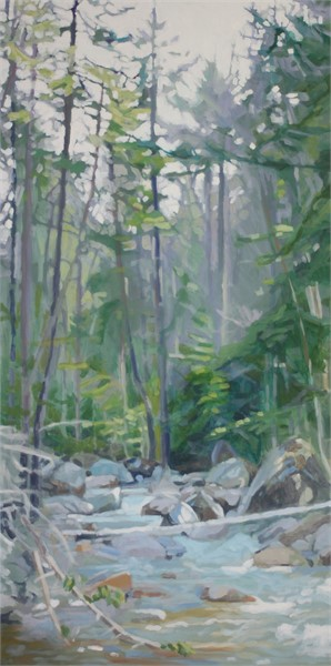 "Liz Hoag | Middle of the Stream | acrylic | 48"" X 24"" 