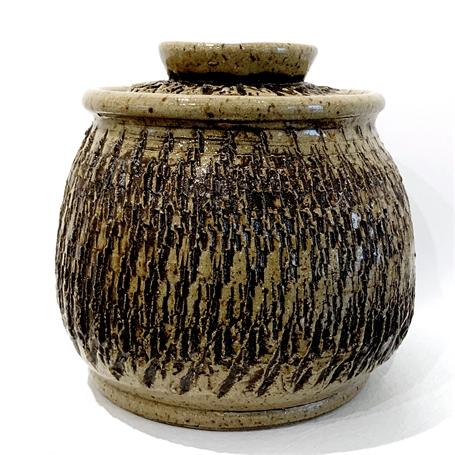 "Richard Winslow | Textured Pot with Lid in Brown | Ceramic | 5"" X 5.5"" 