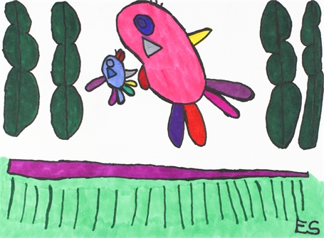 Pink and Blue Birds Flying