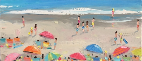 "Bethany Harper Williams | Beach Soccer | Oil on Canvas | 32"" X 14"" 