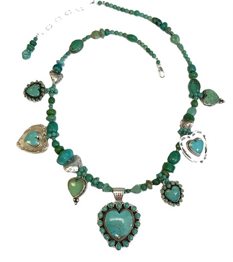 KY 1252 Single strand heart necklace w Sterling and Turquoise