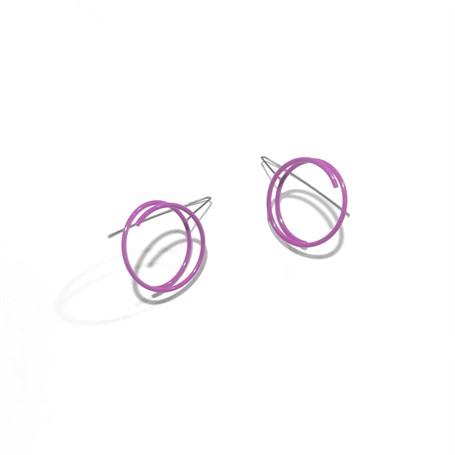Powder Coated Earrings: Medium Continuous Circle in Purple