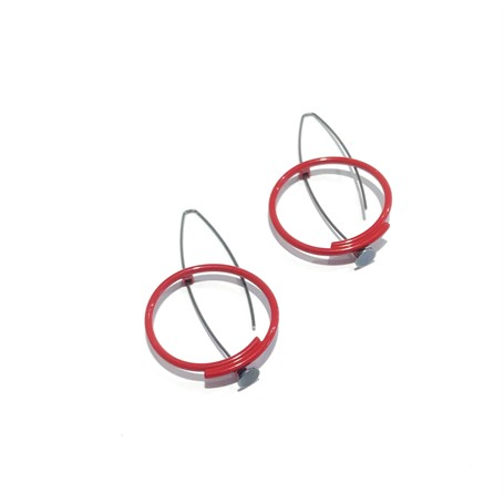 Powder Coated Earrings: Small Circle in Red