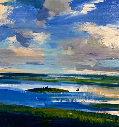 "Craig Mooney | Channel Clouds | Oil on Panel | 12"" X 12"" 