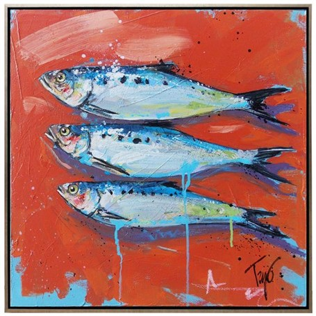 "Trip Park | Sleepy Fishies | Acrylic and Mixed Media on Canvas | 20"" X 20"" 