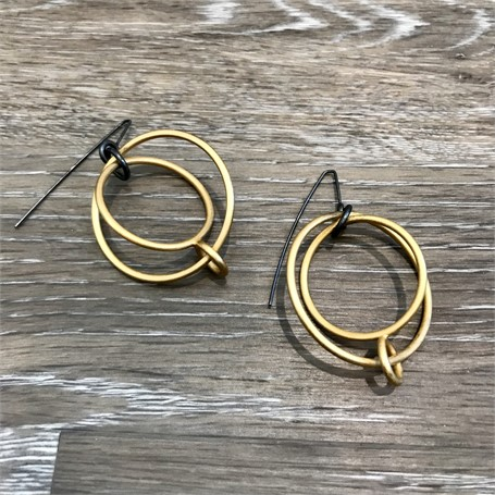 Gold Plated Earrings: Large 3 Circles