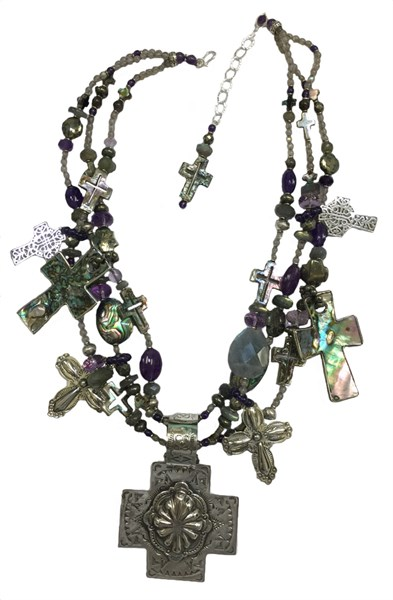 KY 1247 - Three Strand necklace with Labradorite and Amethyst