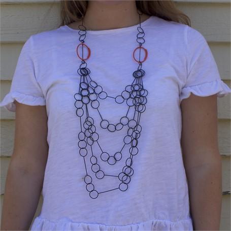 Necklace: 5 Strand Cascade Necklace with Orange Ovals