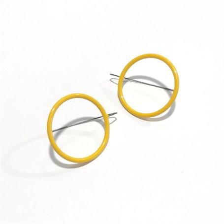 Powder Coated Earrings: Medium Circle in Mustard