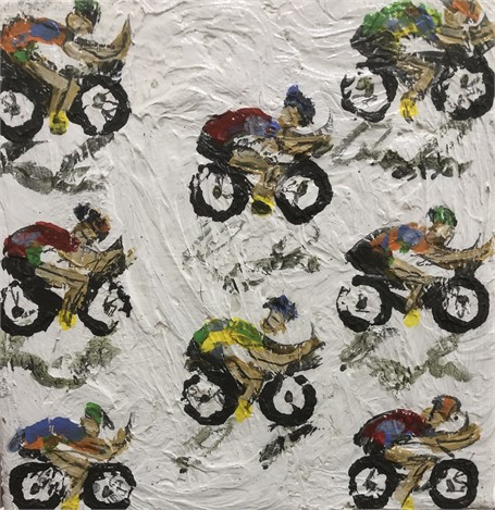 Cyclists on Textured White Background