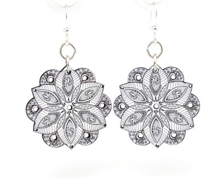 Earrings - Black & White Lace 1522