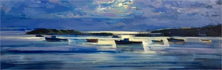 "Craig Mooney | Moonlit Harbor | Oil on Canvas | 20"" X 60"" 