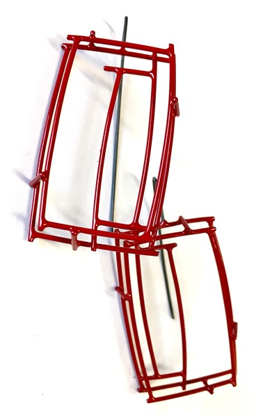 Earring Small Rectangular Structure in Red