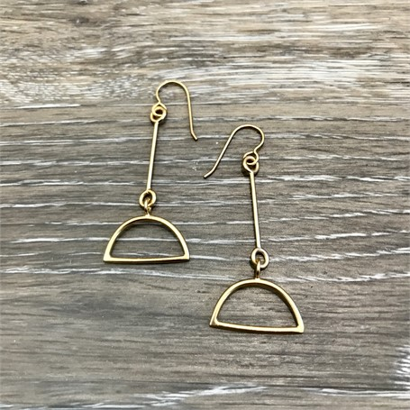 Gold Plated Earrings: Small Links with 1/2 Circle Drop