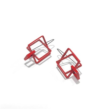 Powder Coated Earrings: 3 Large Red Squares
