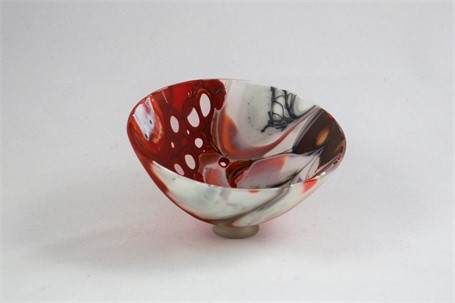 Exquisite Bowl- Ball Red, Black & White