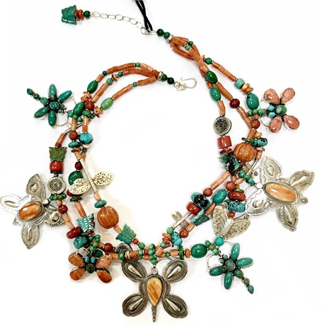 KY 1229 Butterfly 3 Strand - Coral, silver, turquoise, spiny oyster, dragonfly, butterfly charms